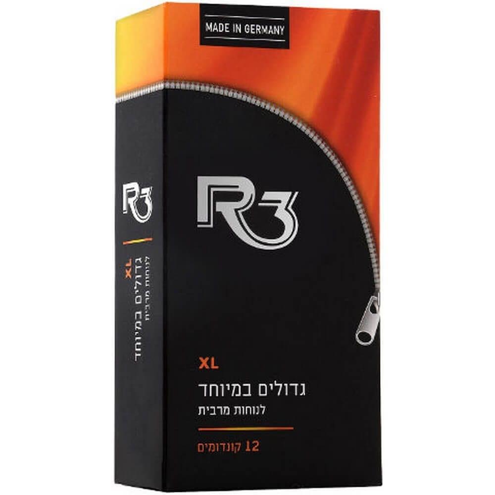קונדומים R3 XL גדולים במיוחד לנוחות מירבית, 12 קונדומים