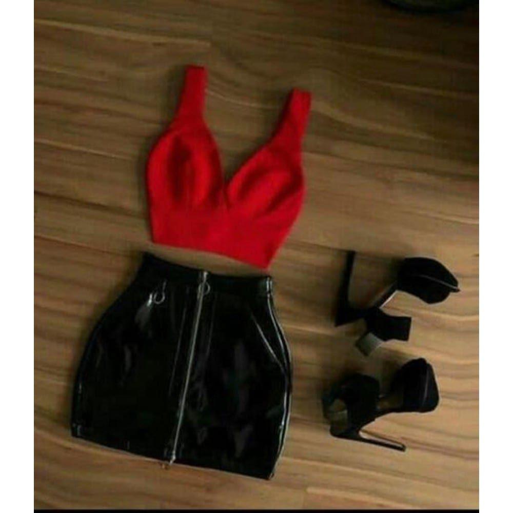 סט סקסי דימוי עור משולב אדום ושחור חזייה וחצאית